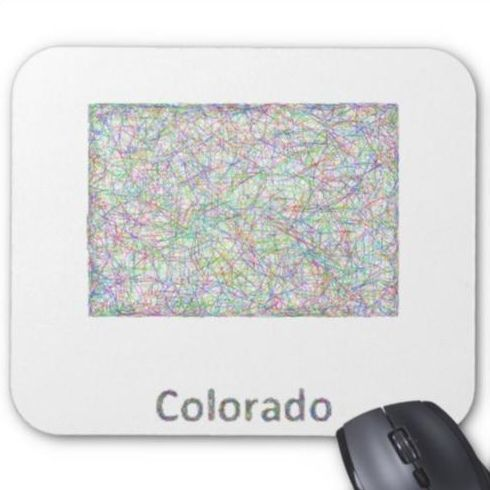 Colorado map mouse pad $12.10 *** Colorful line art design map of Colorado state. - mouse pad