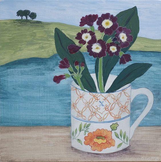 345 vind-ik-leuks, 14 reacties - Debbie George (@debbiegeorgepainter) op Instagram: ''Auricula by the sea' one of five new paintings for my solo show @theeditionshop this one sold…'