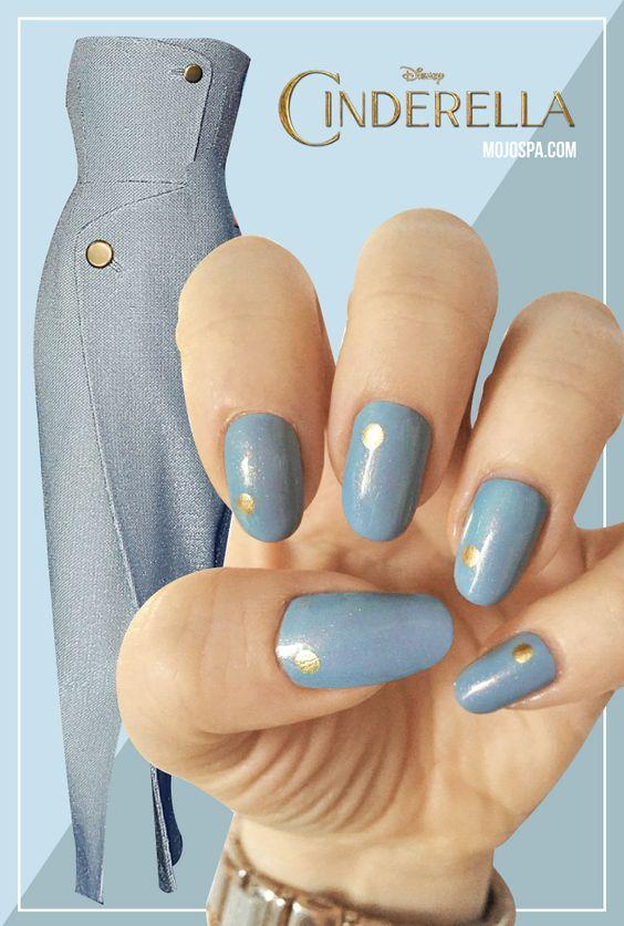 Mojo Spa™ | Fashion Wednesday: #Cinderella inspired #nail #art #spring #blue #simple #nailart #movie #nails