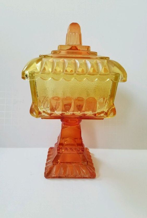 Vintage Wedding Candy Dish Orange Peach Yellow Pressed Glass Gift