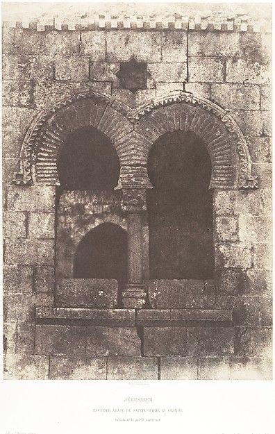 Jérusalem, Escaliere arabe de Sainte-Marie-la-Grande, Détails de la partie supérieure, Auguste Salzman (French 1824-1872), salted paper print from paper negative. Ca.1854.