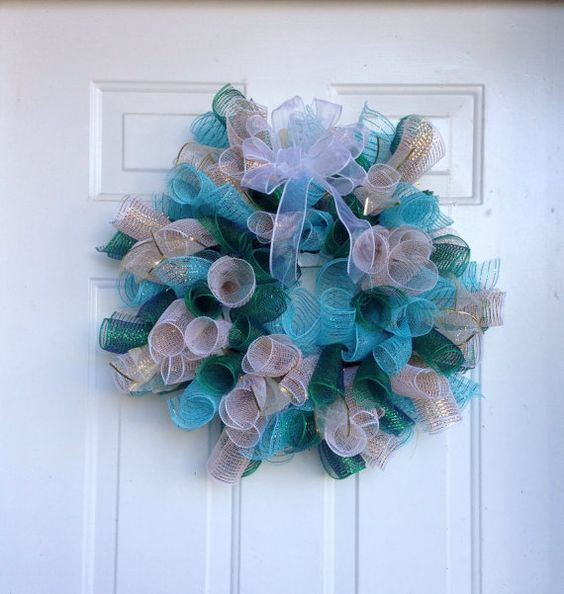 Spring Deco Mesh Wreath by HoneybabyBoutique on Etsy, $40.00