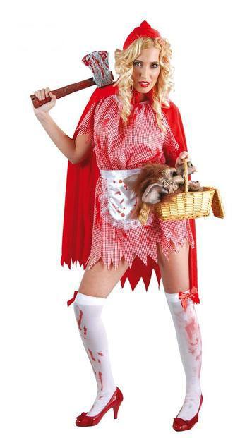 Disfraz chica Caperucita, sangrienta  Conviértete en una terrorífica y sexy Caperucita Roja para ir a visitar a tu abuelita con este Disfraz de este cuento popular.