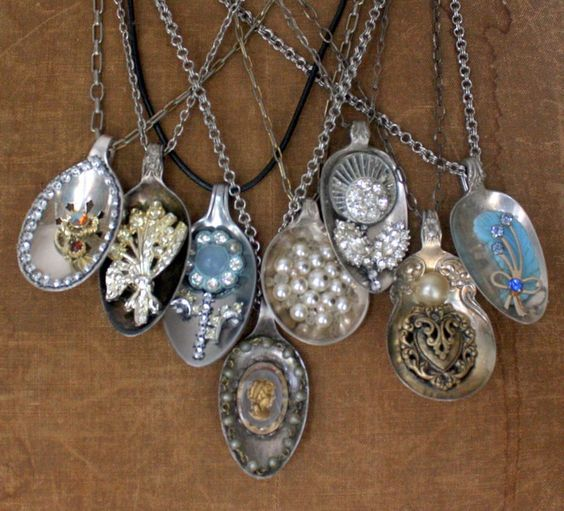 spoons pendants and silver spoons on