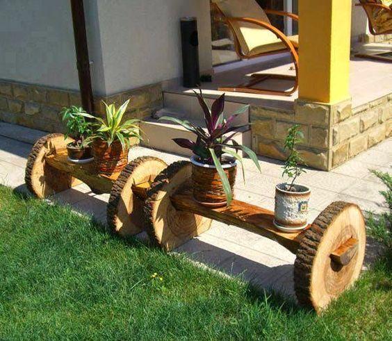 Bancos maceteros hechos con troncos y rodajas muebles for Muebles con troncos