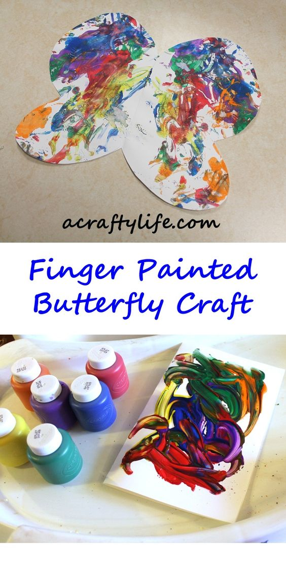 Finger Paint Butterfly Craft - rainbow colored - A Crafty Life