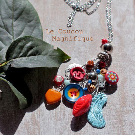 Collana lunga country chic con pendaglio rosso e turchese, by Le coucou…