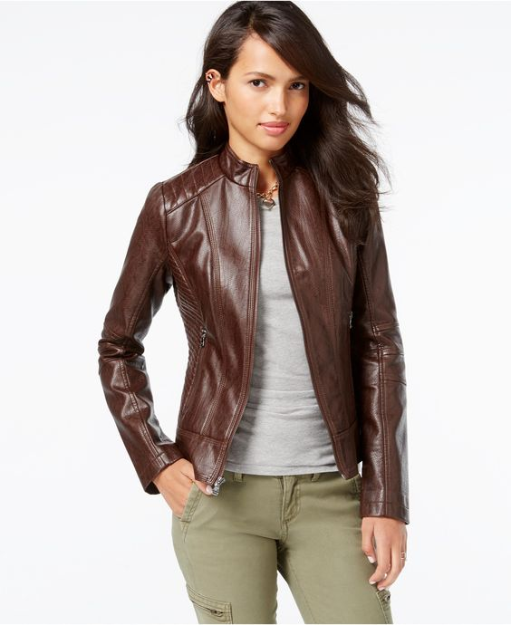 Womens brown faux leather moto jacket – Modern fashion jacket ...