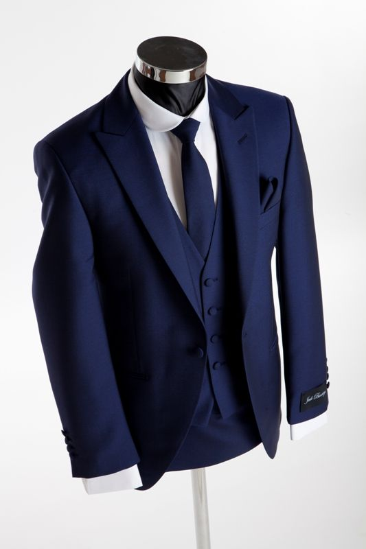Top Sale Royal Blue One Buttons Groom Tuxedos Best Man Peak Lapel
