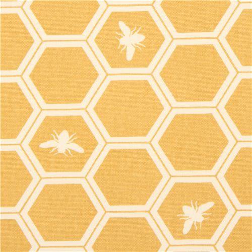 Yellow Bee Honeycomb Canvas Organic Fabric Birch Usa 1 Modes4u Telas