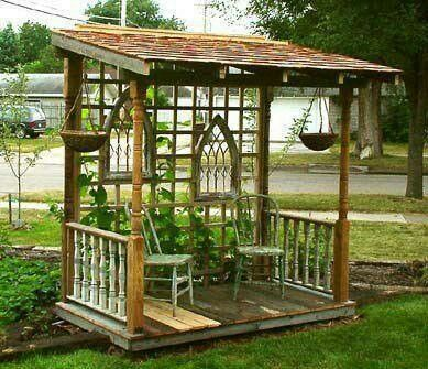 Repurposed items for a gazebo arbors trellis pergolas for Outdoor privacy screen on wheels