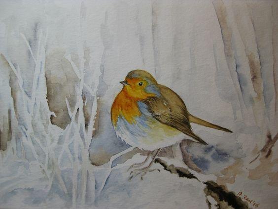 "Original Aquarell - ""Rotkehlchen im Winter `15"" von Aranka`s Shop auf DaWanda.com"