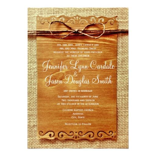 Rustic Country Burlap Twine Bow Wedding Invitation: Rustic Country Wedding, Wedding Invitations Save, Country Weddings, Wedding Shower Ideas, Cheap Invitations, 3Wedding Ideas 3