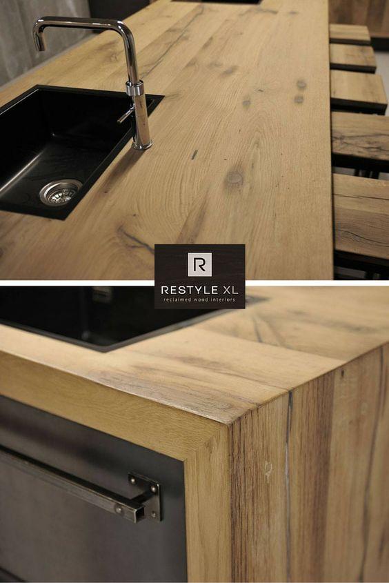 Prachtige restylexl keuken van oud eiken geschaafd hout ...