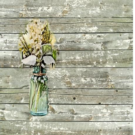 Country Floral Barnwood Shower Curtain On CafePress
