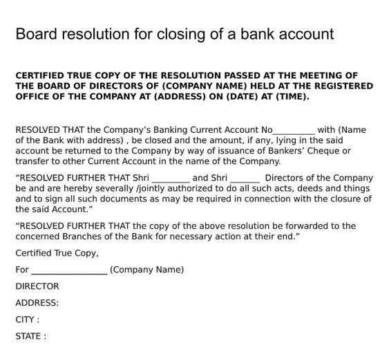 Board Resolution For Closing Of A Bank Account Board Resolutions Bank Account Accounting Banking