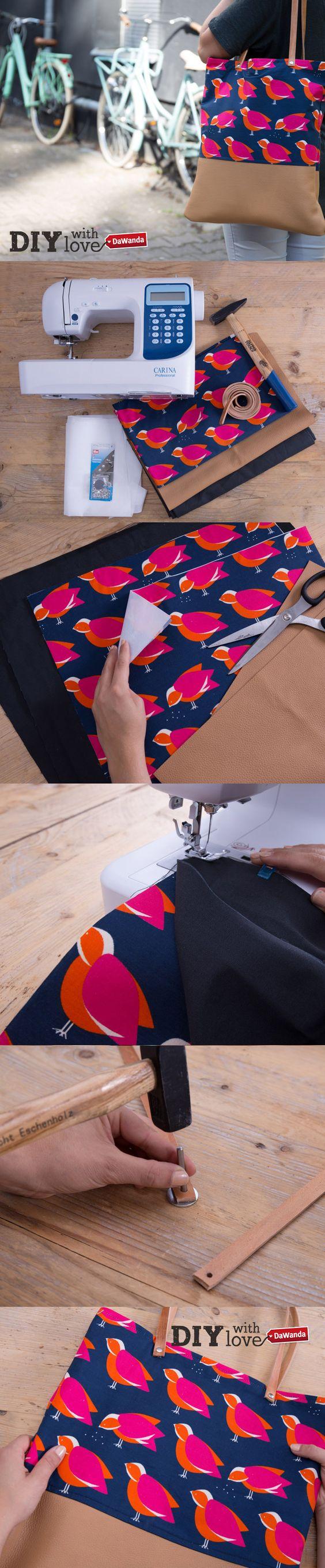 Tutoriel diy: coudre un sac cabas avec des anses en cuir via ...