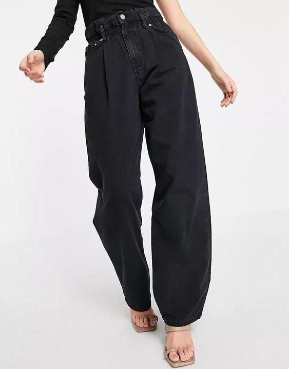 ASOS DESIGN lightweight paperbag waist jeans in washed black