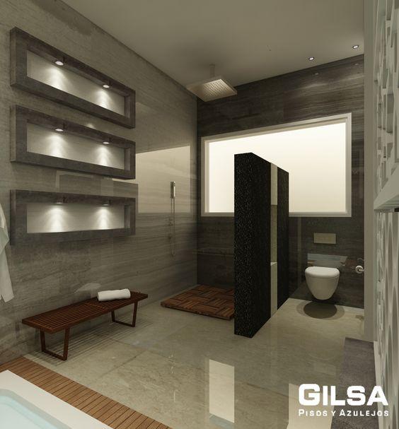 Baño General En Regadera:Regadera/Sanitario: Cúbica Negro y Beige-Procelanosa Piso Regadera