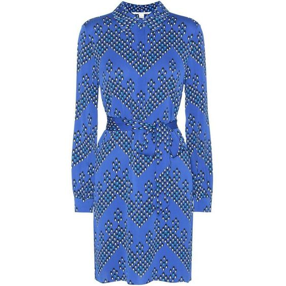 Diane von Furstenberg Seanna Printed Silk Dress ($520) ❤ liked on Polyvore featuring dresses, blue, silk dress, blue dress, blue silk dress, diane von furstenberg dress and diane von furstenberg