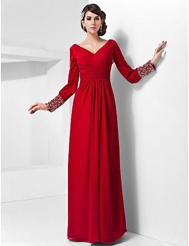 Sheath/Column Long Sleeve V-neck Floor-length Chiffon Evening Dress