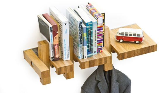 Fusillo is a shelf that can serve as a bookshelf, coat rack, and even a bike rack. Just let your imagination go.