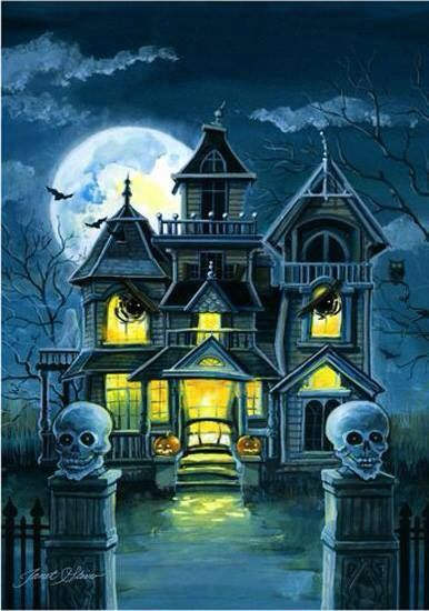 Haunted house with lights on. You are welcomed to come in ...