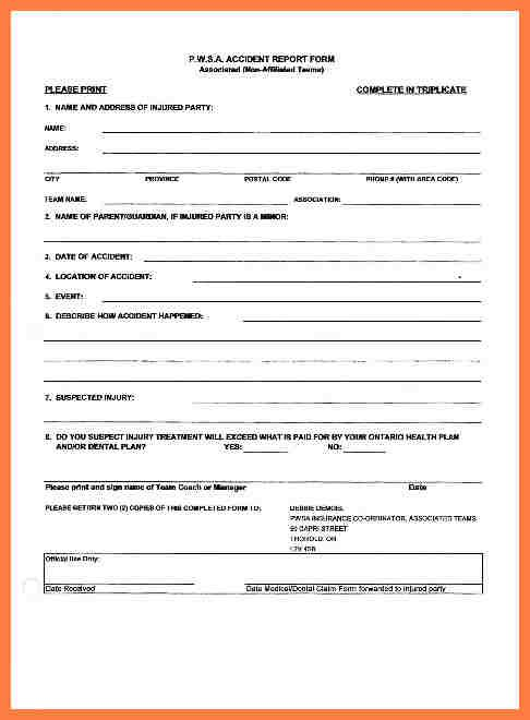 Accident Report Form Incident Report Form Form Accident