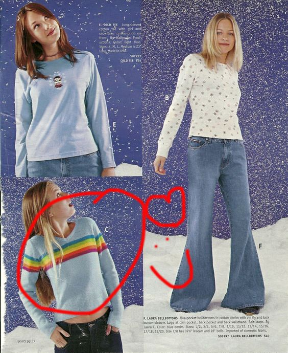 What It Was Like Ordering From The Delia's Catalog. I TOTES had the sweater that os circled right here.