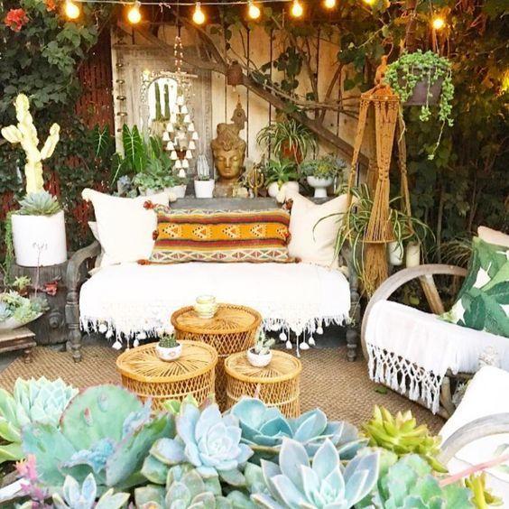 Terraza Chill Out Con Plantas Decoración Del Hogar Hippie