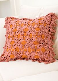 Floral crochet cushion cover. love the colors!