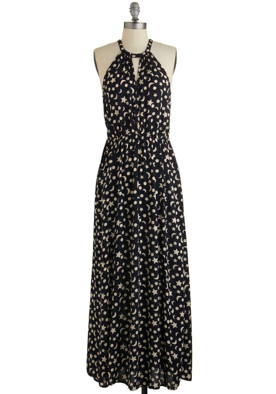 Ink Positively Dress in Celestial. Smiles abound when you wear this patterned black maxi dress, which is exclusive to ModCloth!  #modcloth