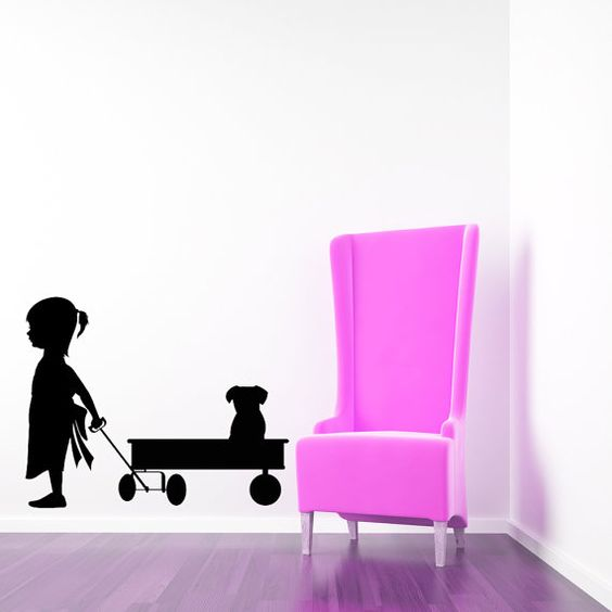 Girl, Wagon, Puppy, Dog - Decal, Sticker, Vinyl, Wall, Home, Daycare, Playroom, Nursery Decor