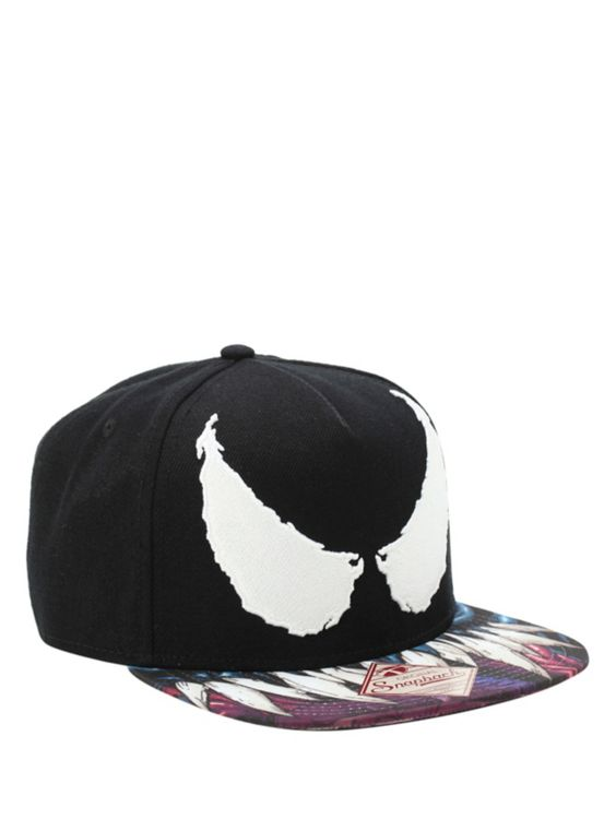 Snapback hat from Marvel with embroidered Venom eyes and sublimation print teeth bill design.