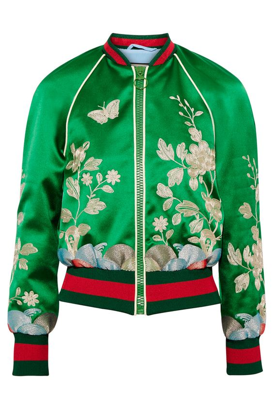 Gucci's satin bomber is sure to pep up any ensemble. Bomber jacket, £2,130…: