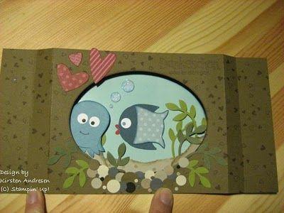 Aquarium-Karte mit der Eulenstanze von Stampin'Up. Ich finde sie einfach großartig! Peek-a-boo Card, under the see, Owl Punch