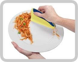 Don't waste water pre-rinsing pots, plates and pans. Squeegee it instead!