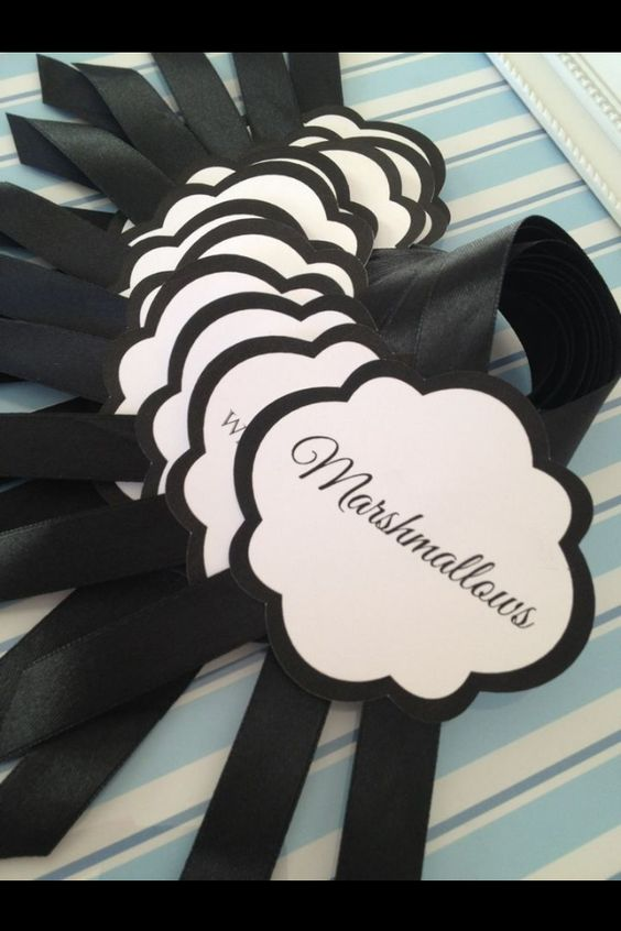 Black cloud labels with black ribbon.  Labels by DIY Parties - Labels, Tags & More. Find us on Facebook.