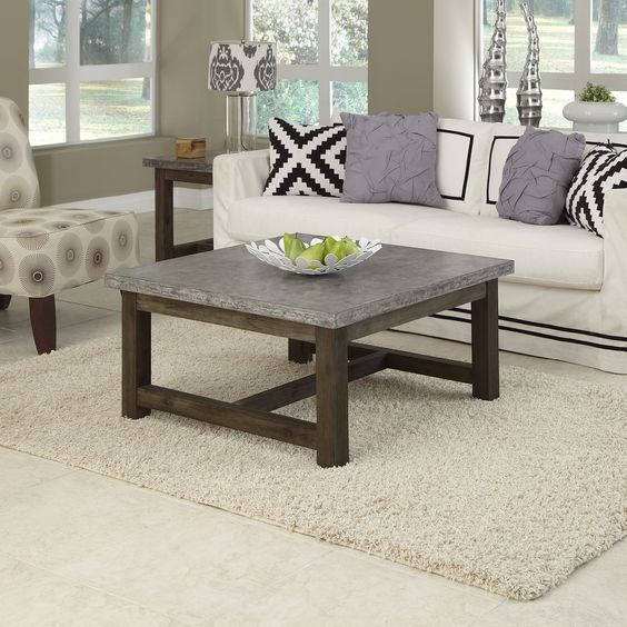 Small Coffee Tables Home Bargains: Home Styles Concrete Chic Square Coffee Table By Home