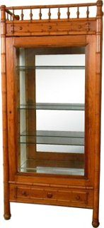 French Faux-Bamboo Display Cabinet