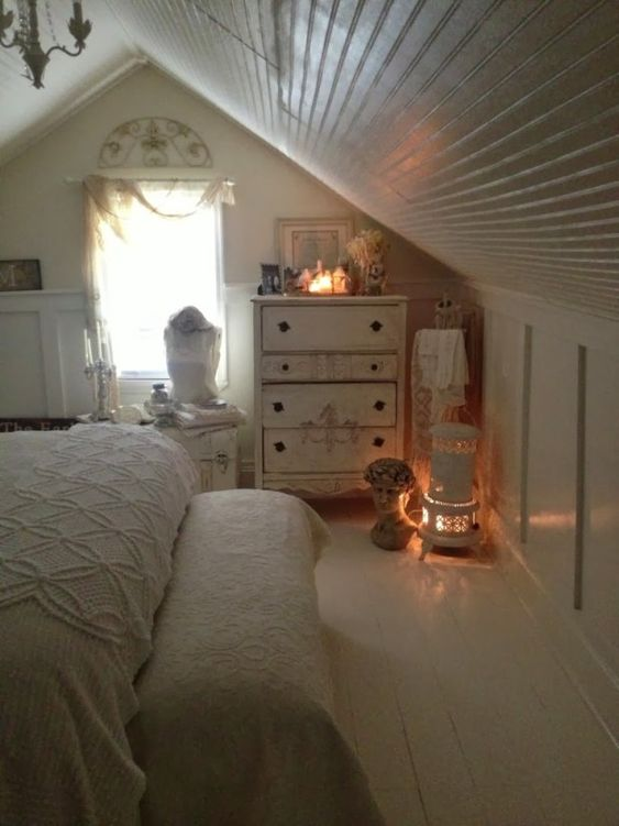 beadboard attic ceiling, board and batten Romantic Shabby Chic Bedroom Vintage Bedroom Ideas