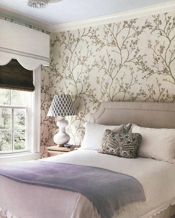 Schumacher Twiggy Wallpaper In Silver 5003340 Guest Bedroom