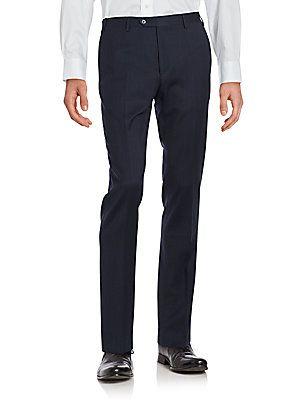 Corneliani Solid Wool Pants - Blue - Size 56 (46) R