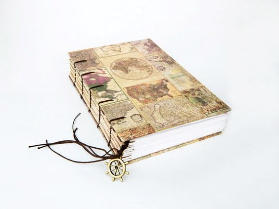 Antique world Map Collection with Ship Wheel Charm - Travel Journal, Notebook, Sketchbook by missArAyA on Etsy https://www.etsy.com/listing/178322302/antique-world-map-collection-with-ship