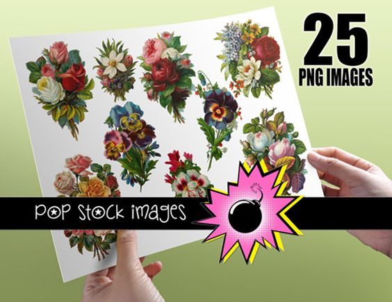 Victorian Diecut Floral Bouquets by popstock on Creative Market
