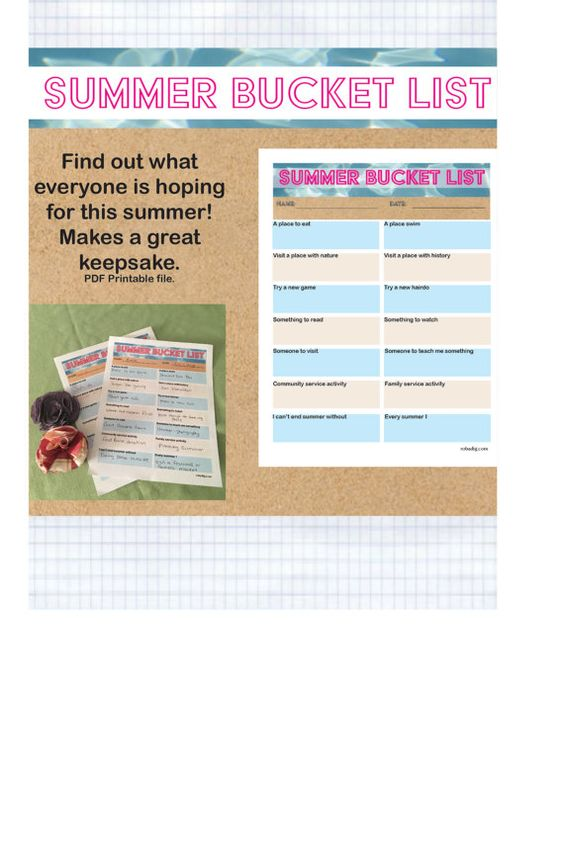 This is a fun way to kick off summer! Find out what every one is hoping to do this summer by having each family member fill out their own summer bucket list.  A bucket list is a list of things you hope to do before the summer is out. This bucket list is unique in that is gives you prompts to add your own specific activities and places rather than generic prompts.  Each list is dated so they make great keepsakes. Think how fun it will be in five years to look back o each family members…