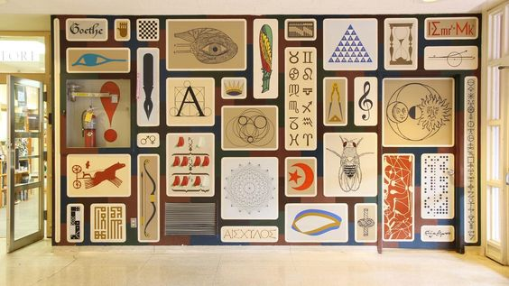 Alexander Girard mural at St. John's College, in Santa Fe, New Mexico.  Charles and Ray Eames often visited their dear friends, Mr. and Mrs. Girard, there.
