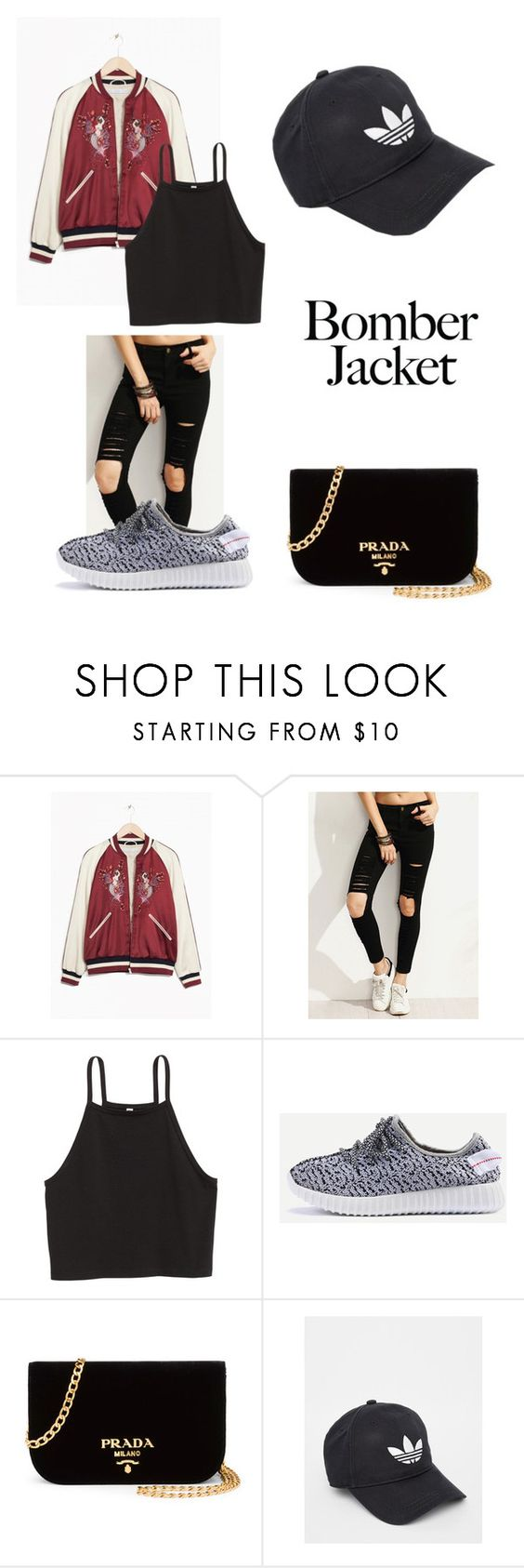 """""""Red floral"""" by fashionlover26t ❤ liked on Polyvore featuring Prada, adidas and bomberjackets"""