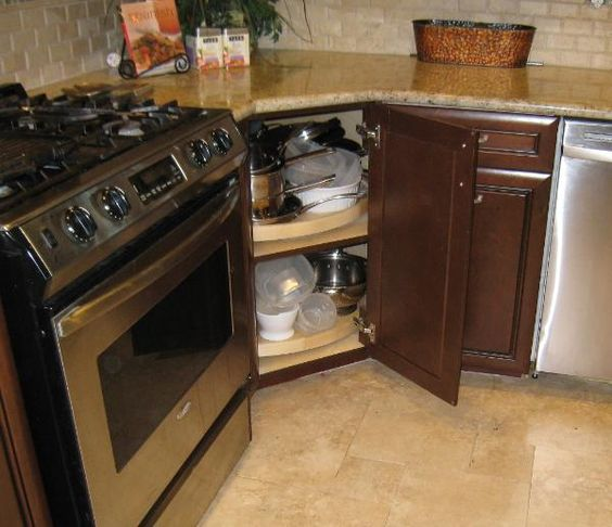 Modified Corner With 2 Rotary Trays Inside Susan Cabinets | Kitchen Ideas |  Pinterest