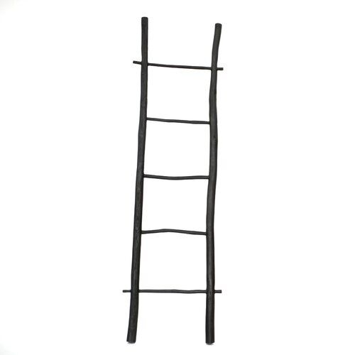 Bazar Bizar The Burned 6 56 Ft Wood Straight Ladder Teak Metal Step Stool Ladder